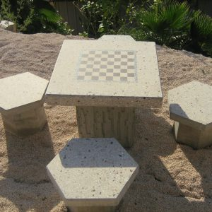 דגם 109 scaled 1 300x300 - שולחן בטון דגם שחמט + כיסאות