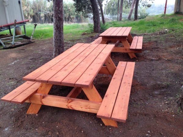 """פיקניק מעץ 4 600x450 - שולחן פיקניק קק""""ל 1.60"""
