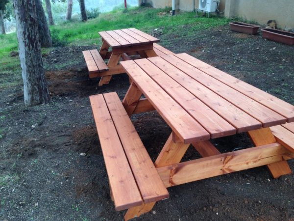 """פיקניק מעץ 6 600x450 - שולחן פיקניק קק""""ל 1.80 מ'"""